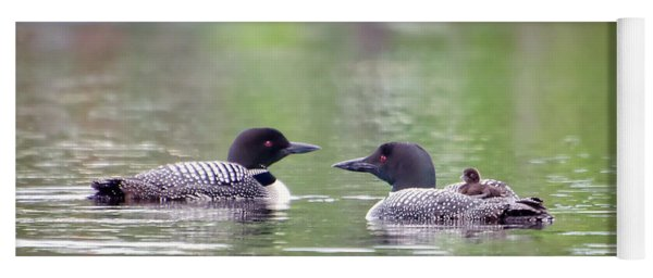 Mom And Dad Loon With Baby On Back Yoga Mat