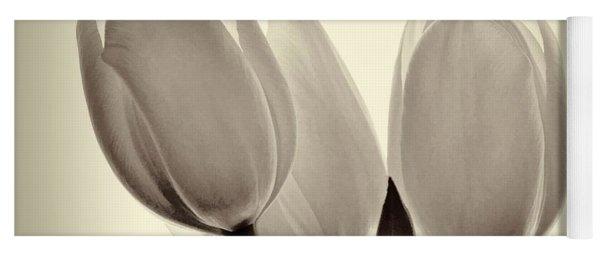 Monochrome Tulips With Vignette Yoga Mat