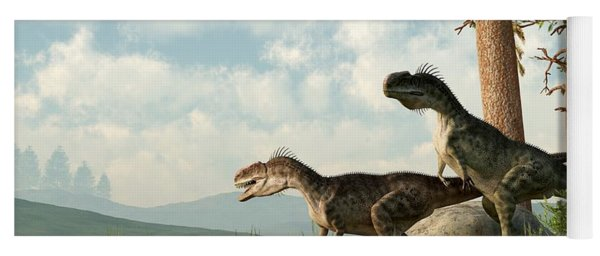 Monolophosaurs On The Hunt Yoga Mat