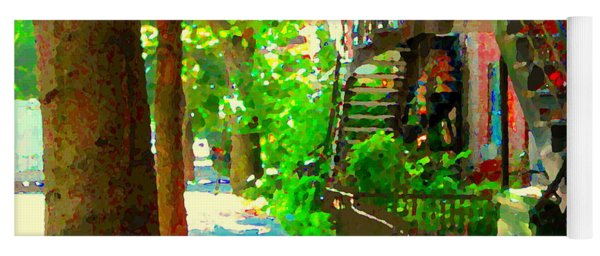 Montreal Art Colorful Winding Staircase Scenes Tree Lined Streets Of Verdun Art By Carole Spandau Yoga Mat