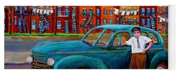 Montreal Taxi Driver 1940 Cab Vintage Car Montreal Memories Row Houses City Scenes Carole Spandau Yoga Mat