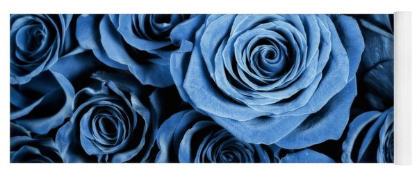 Moody Blue Rose Bouquet Yoga Mat