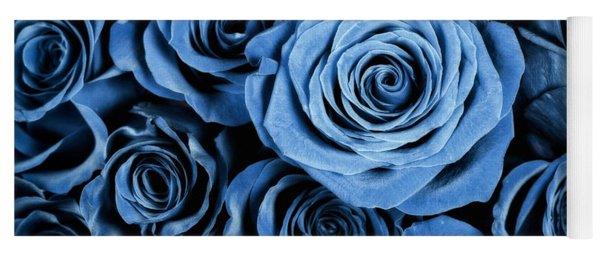 Moody Blue Rose Bouquet Yoga Mat
