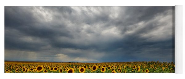 Moody Skies Over The Sunflower Fields Yoga Mat