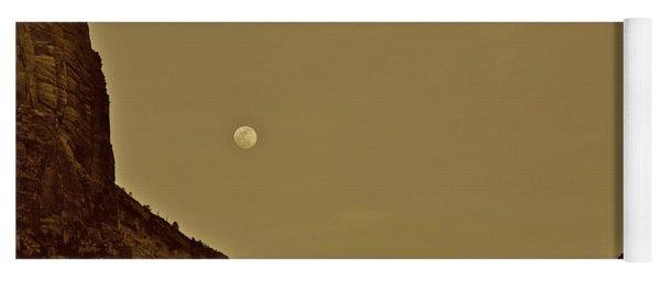 Moon Over Crag Utah Yoga Mat