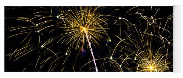 Moon Over Golden Starburst- July Fourth - Fireworks Yoga Mat