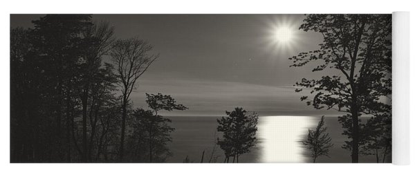 Moon Over Lake Michigan In  Black And White Yoga Mat