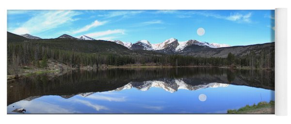 Moon Over Sprague Lake Yoga Mat