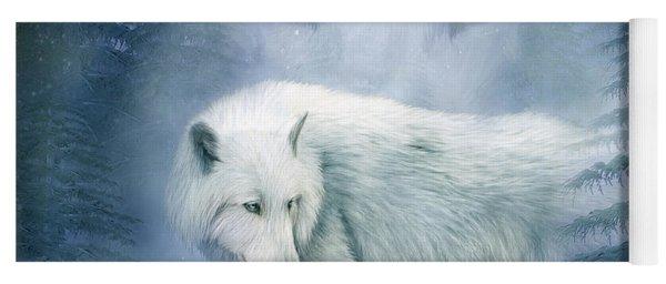 Moon Spirit 2 - White Wolf - Blue Yoga Mat