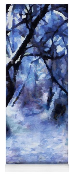 Moonlit Winter Woodpath Yoga Mat