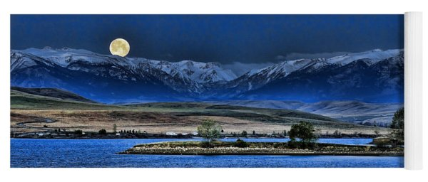 Moonset Over Cooney Yoga Mat