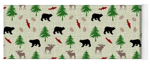 Moose And Bear Pattern Yoga Mat