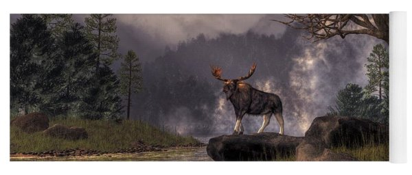 Yoga Mat featuring the digital art Moose In The Adirondacks by Daniel Eskridge