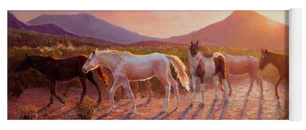 More Than Light Arizona Sunset And Wild Horses Yoga Mat