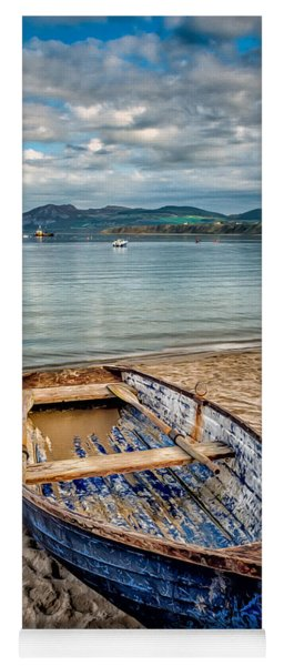 Yoga Mat featuring the photograph Morfa Nefyn Boat by Adrian Evans