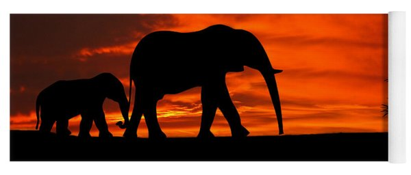 Mother And Baby Elephants Sunset Silhouette Series Yoga Mat