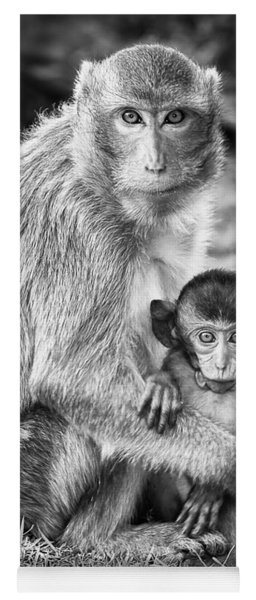 Mother And Baby Monkey Black And White Yoga Mat