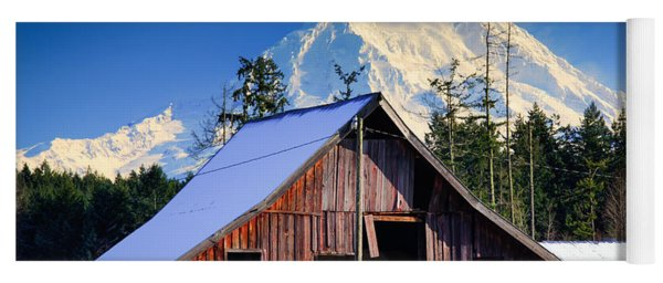 Mount Rainier And Barn Yoga Mat
