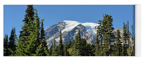 Mount Rainier Evergreens Yoga Mat