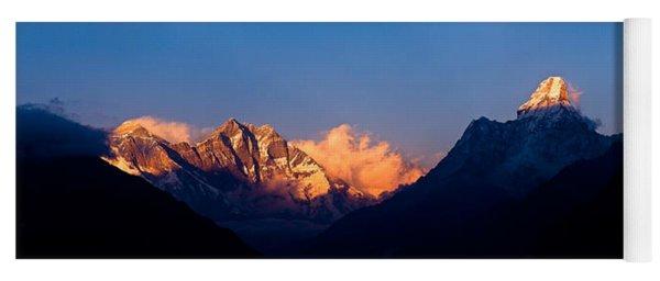 Mountain Range At Dusk, Ama Dablam Yoga Mat