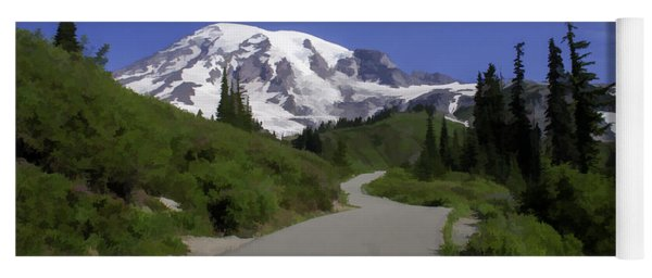 Mt Rainier Painted Yoga Mat