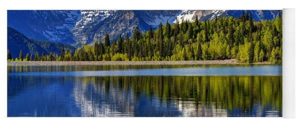 Mt. Timpanogos Reflected In Silver Flat Reservoir - Utah Yoga Mat