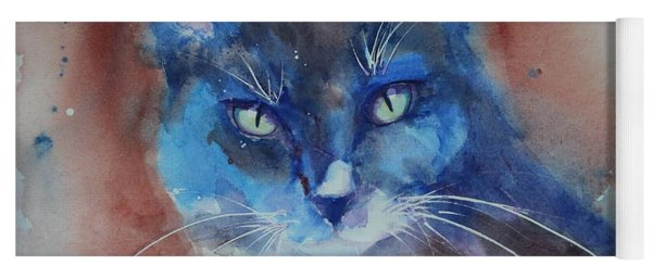 Yoga Mat featuring the painting My Cat Spook by Ruth Kamenev