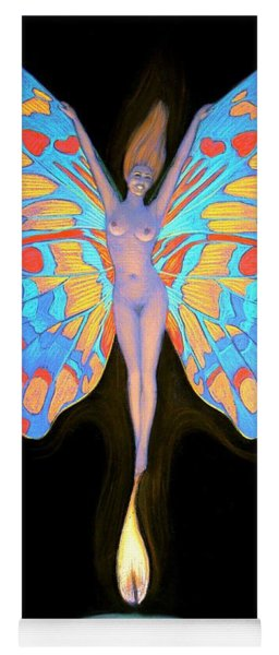 Naked Butterfly Lady Transformation Yoga Mat