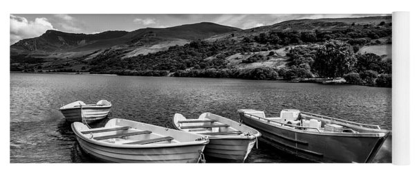 Yoga Mat featuring the photograph Nantlle Uchaf Boats by Adrian Evans