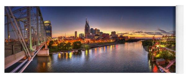 Nashville Skyline Panorama Yoga Mat