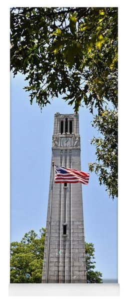Nc State Memorial Bell Tower And Us Flag Yoga Mat