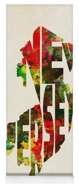 New Jersey Typographic Watercolor Map Yoga Mat