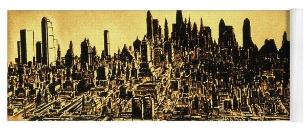 New York Skyline 78 - Mid Manhattan Ink Watercolor Painting Yoga Mat
