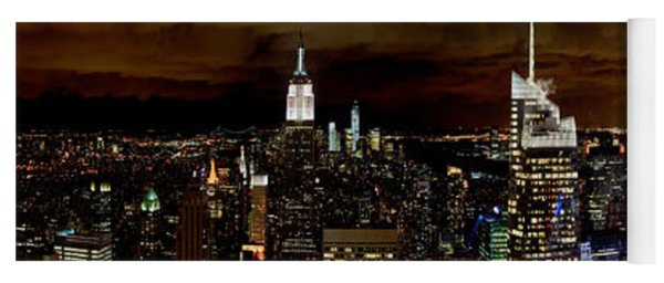 New York At Night Panorama Yoga Mat