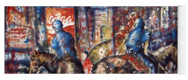 New York Broadway At Night - Oil On Canvas Painting Yoga Mat