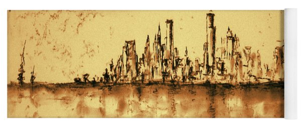 New York City Skyline 79 - Water Color Panorama Yoga Mat