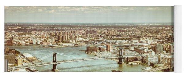 New York City - Brooklyn Bridge And Manhattan Bridge From Above Yoga Mat