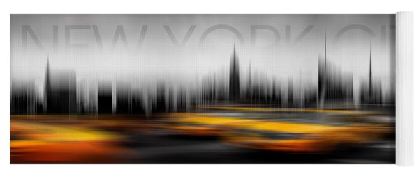 New York City Cabs Abstract Yoga Mat