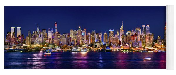 New York City Nyc Midtown Manhattan At Night Yoga Mat