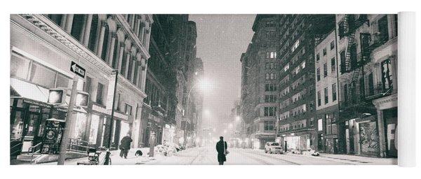 New York City - Snow - Empty Streets At Night Yoga Mat