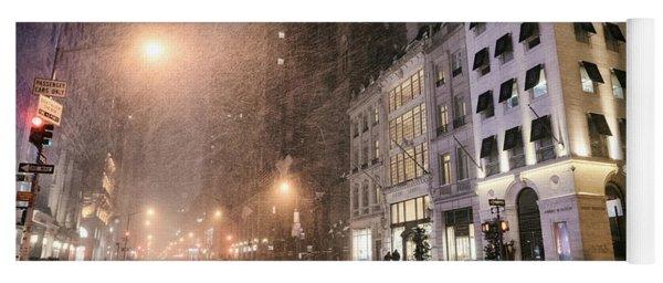 New York City Streets On A Snowy Night  Yoga Mat