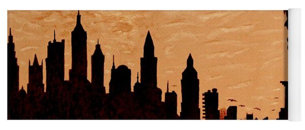 New York City Sunset Silhouette Yoga Mat