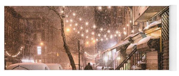 New York City - Winter Snow Scene - East Village Yoga Mat