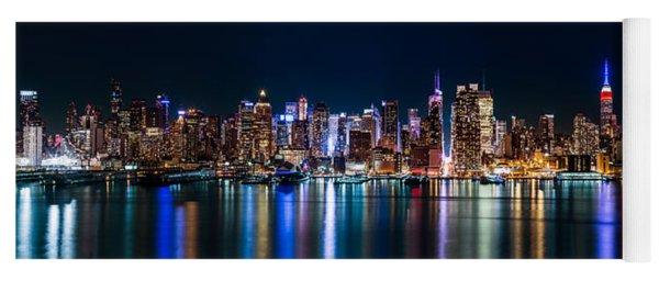 New York Panorama By Night Yoga Mat