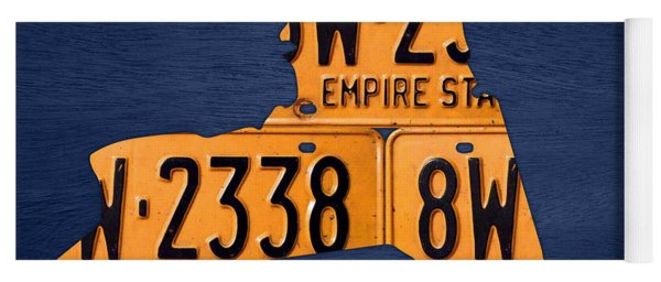 New York State License Plate Map Yoga Mat