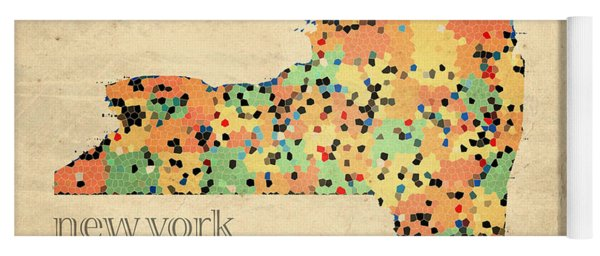 New York State Map Crystalized Counties On Worn Canvas By Design Turnpike Yoga Mat