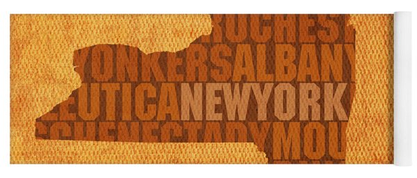 New York Word Art State Map On Canvas Yoga Mat
