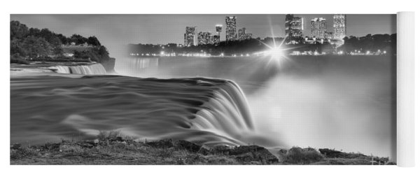 Niagara Falls Black And White Starbursts Yoga Mat