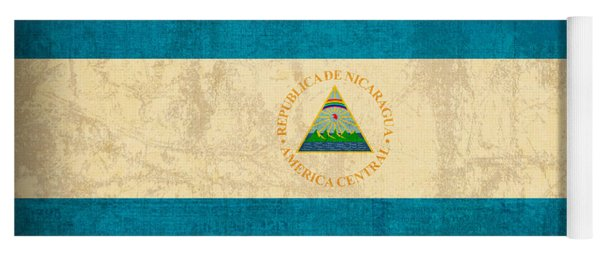 Nicaragua Flag Vintage Distressed Finish Yoga Mat