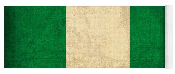 Nigeria Flag Vintage Distressed Finish Yoga Mat
